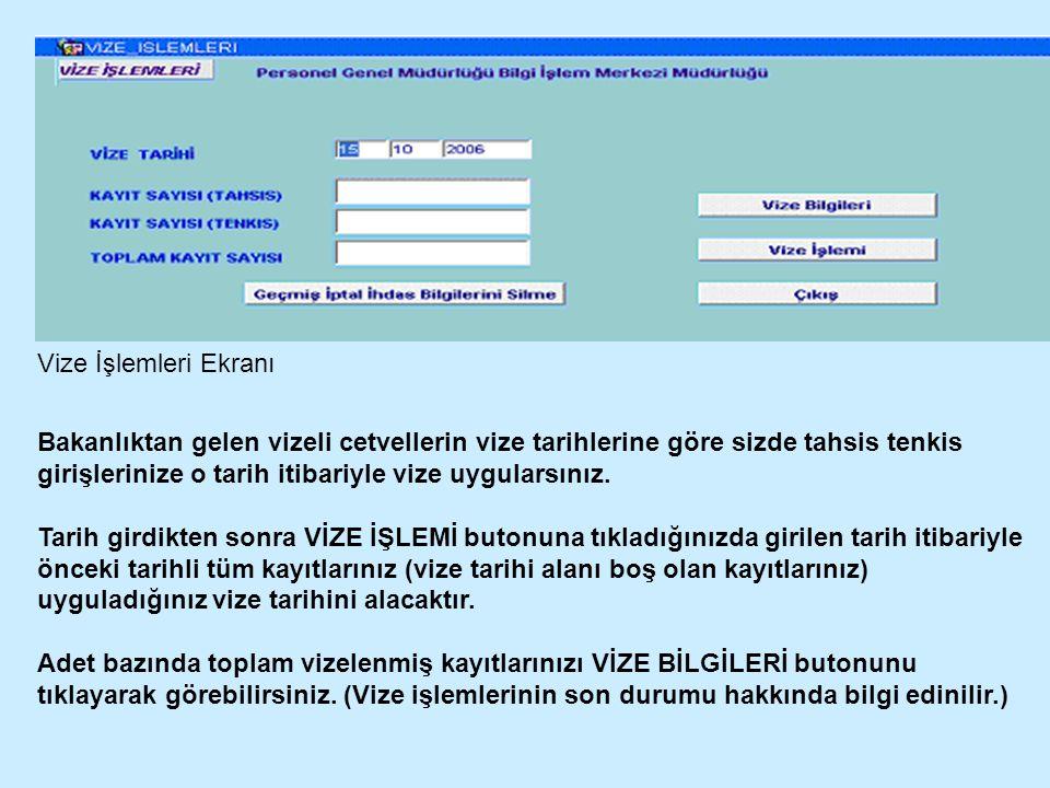 Vize İşlemleri Ekranı Bakanlıktan gelen vizeli cetvellerin vize tarihlerine göre sizde tahsis tenkis girişlerinize o tarih itibariyle vize uygularsınız.