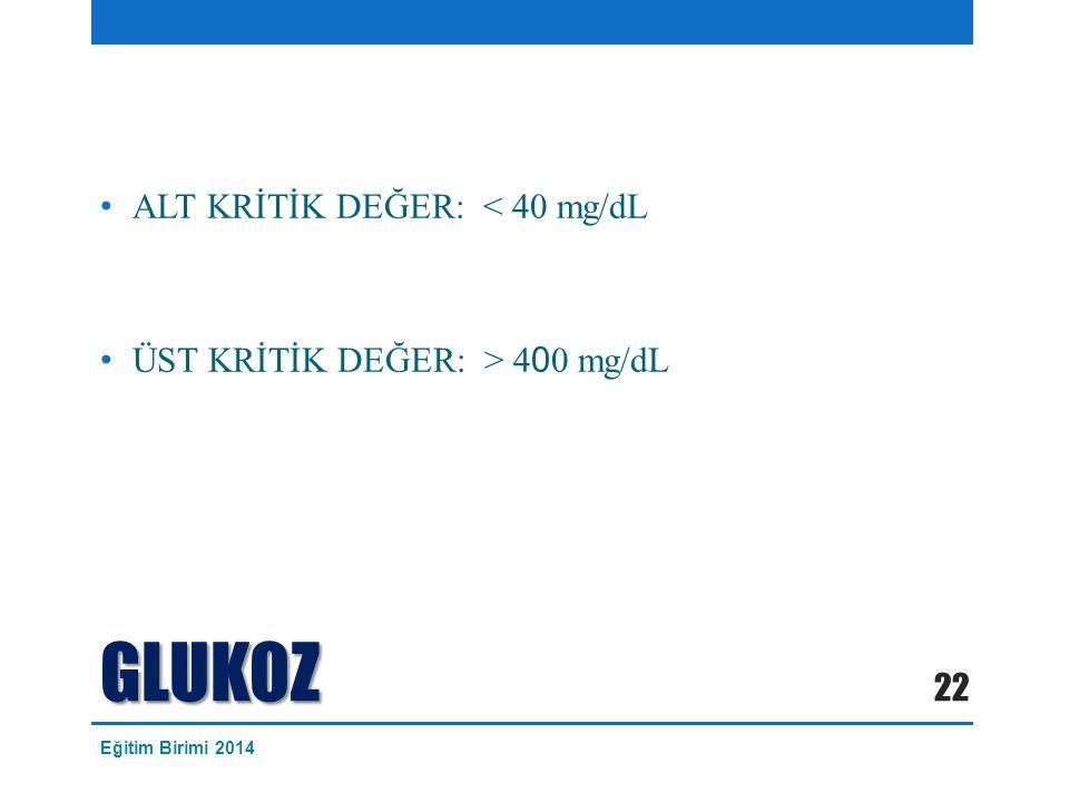 GLUKOZ ALT KRİTİK DEĞER: < 40 mg/dL ÜST KRİTİK DEĞER: > 4 0 0 mg/dL 22 Eğitim Birimi 2014