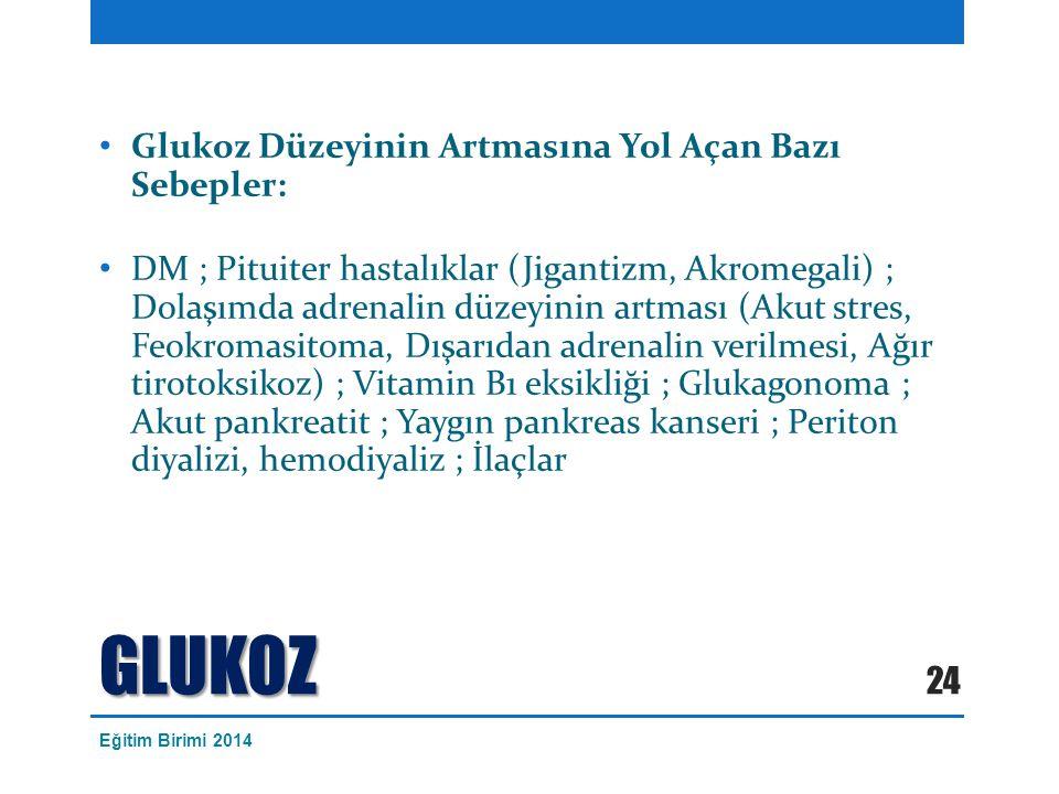 Glukoz Düzeyinin Artmasına Yol Açan Bazı Sebepler: DM ; Pituiter hastalıklar (Jigantizm, Akromegali) ; Dolaşımda adrenalin düzeyinin artması (Akut stres, Feokromasitoma, Dışarıdan adrenalin verilmesi, Ağır tirotoksikoz) ; Vitamin B1 eksikliği ; Glukagonoma ; Akut pankreatit ; Yaygın pankreas kanseri ; Periton diyalizi, hemodiyaliz ; İlaçlar GLUKOZ 24 Eğitim Birimi 2014