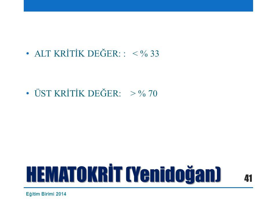 HEMATOKRİT (Yenidoğan) ALT KRİTİK DEĞER: : < % 33 ÜST KRİTİK DEĞER: > % 70 41 Eğitim Birimi 2014