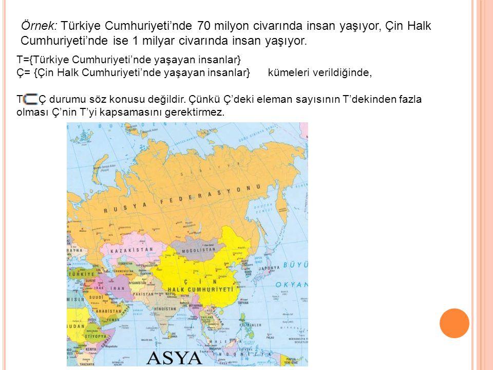 Örnek: Türkiye Cumhuriyeti'nde 70 milyon civarında insan yaşıyor, Çin Halk Cumhuriyeti'nde ise 1 milyar civarında insan yaşıyor.