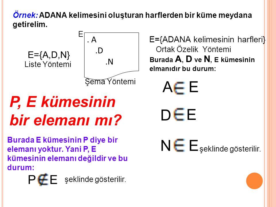 Örnek: ADANA kelimesini oluşturan harflerden bir küme meydana getirelim.