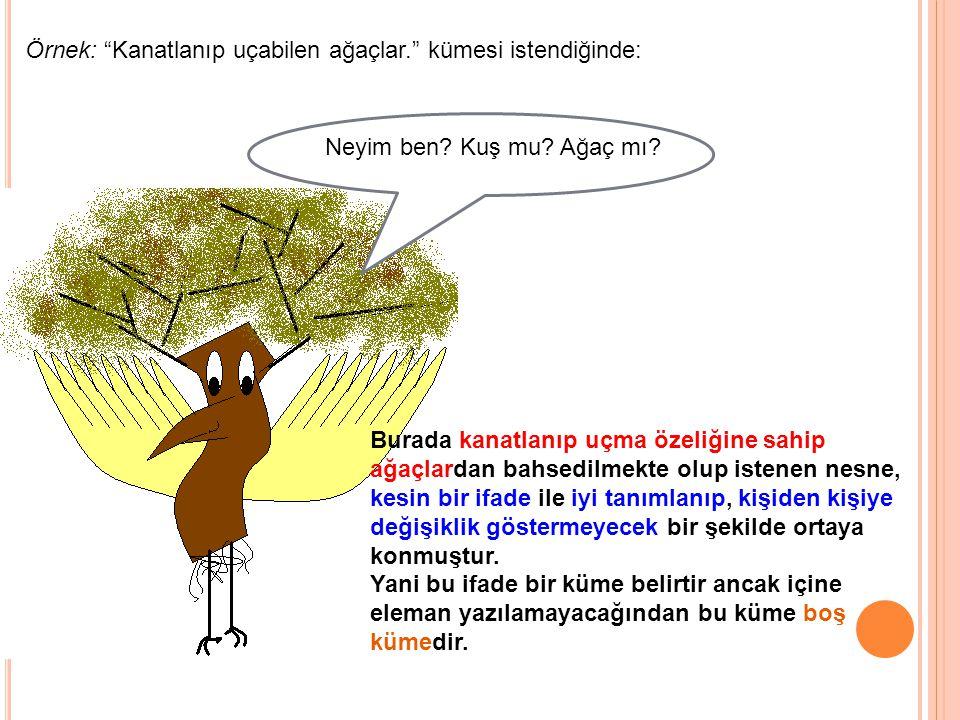 Örnek: Kanatlanıp uçabilen ağaçlar. kümesi istendiğinde: Neyim ben.