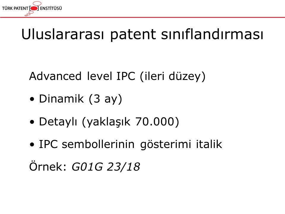 Advanced level IPC (ileri düzey) Dinamik (3 ay) Detaylı (yaklaşık 70.000) IPC sembollerinin gösterimi italik Örnek: G01G 23/18