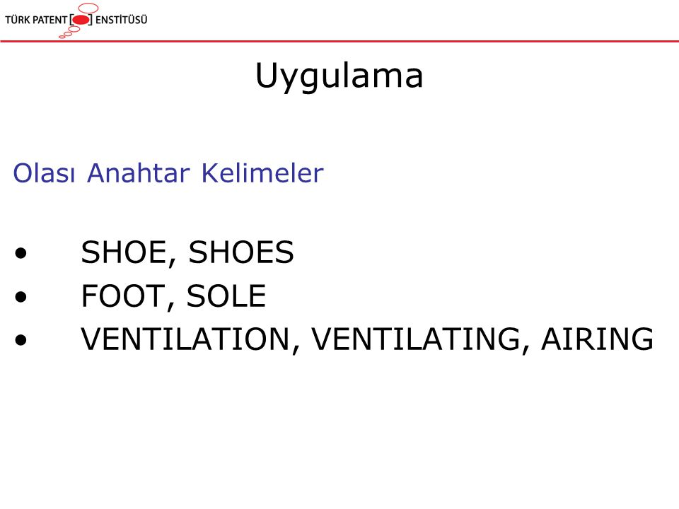 Olası Anahtar Kelimeler SHOE, SHOES FOOT, SOLE VENTILATION, VENTILATING, AIRING