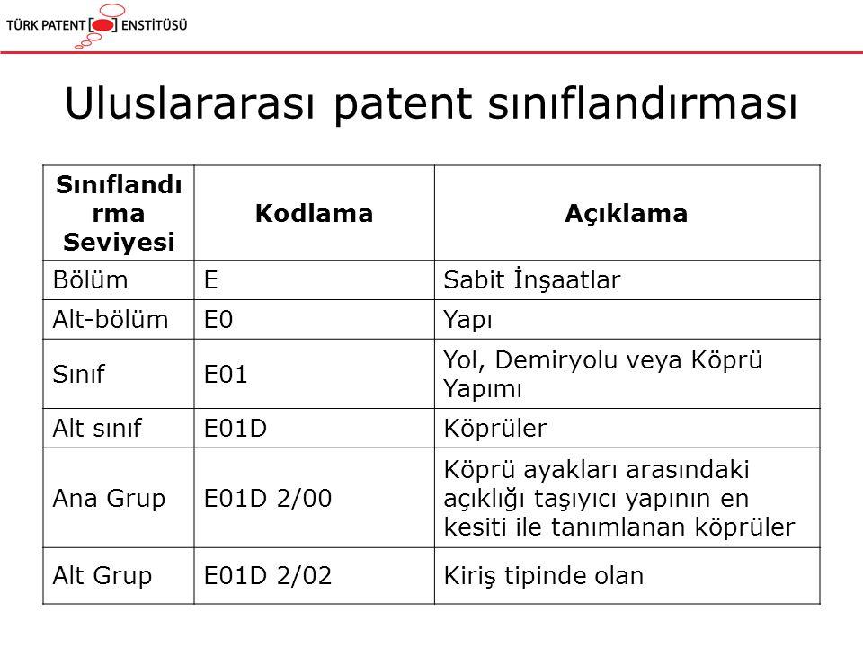 Uluslararası patent sınıflandırması Sınıflandı rma Seviyesi KodlamaAçıklama BölümESabit İnşaatlar Alt-bölümE0Yapı SınıfE01 Yol, Demiryolu veya Köprü Yapımı Alt sınıfE01DKöprüler Ana GrupE01D 2/00 Köprü ayakları arasındaki açıklığı taşıyıcı yapının en kesiti ile tanımlanan köprüler Alt GrupE01D 2/02Kiriş tipinde olan