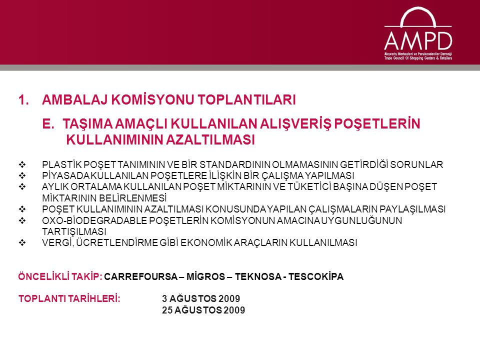 1.AMBALAJ KOMİSYONU TOPLANTILARI E.