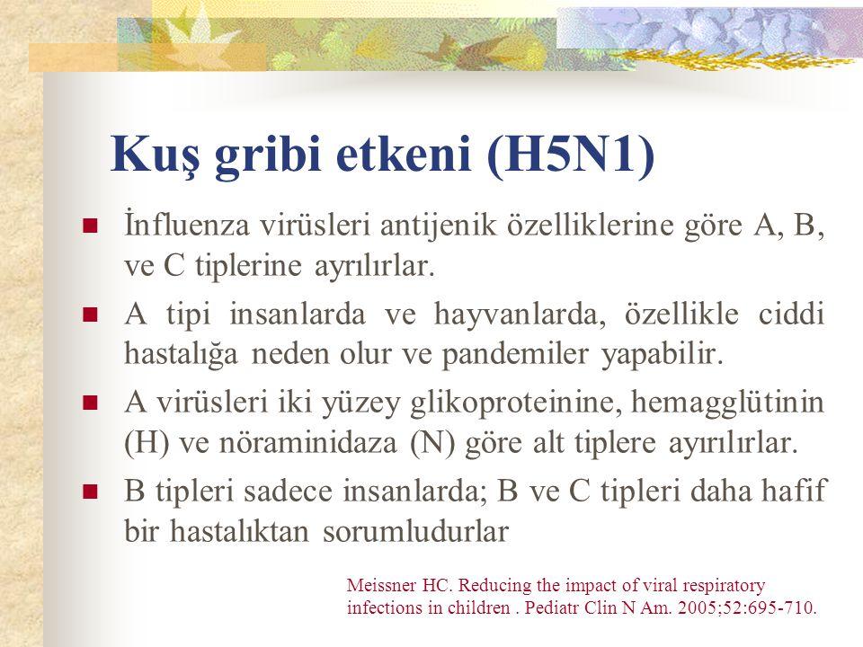 Kuş gribi etkeni (H5N1) İnfluenza virüsleri antijenik özelliklerine göre A, B, ve C tiplerine ayrılırlar.