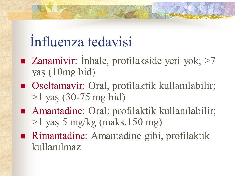 İnfluenza tedavisi Zanamivir: İnhale, profilakside yeri yok; >7 yaş (10mg bid) Oseltamavir: Oral, profilaktik kullanılabilir; >1 yaş (30-75 mg bid) Amantadine: Oral; profilaktik kullanılabilir; >1 yaş 5 mg/kg (maks.150 mg) Rimantadine: Amantadine gibi, profilaktik kullanılmaz.