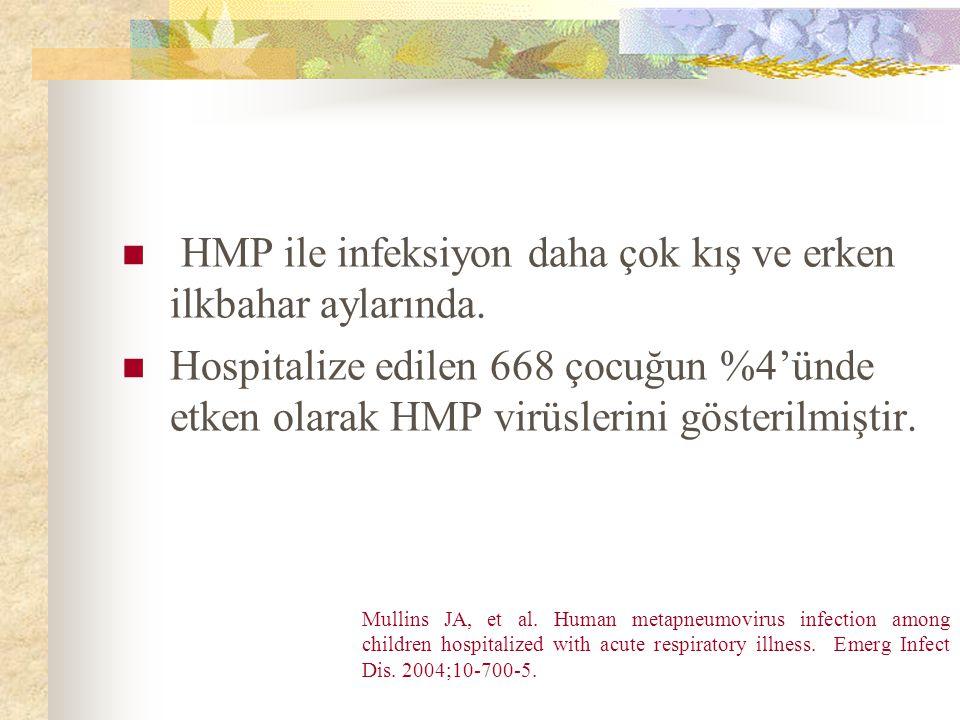 HMP ile infeksiyon daha çok kış ve erken ilkbahar aylarında.