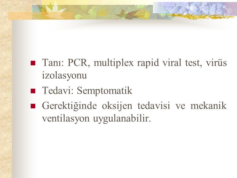 Tanı: PCR, multiplex rapid viral test, virüs izolasyonu Tedavi: Semptomatik Gerektiğinde oksijen tedavisi ve mekanik ventilasyon uygulanabilir.