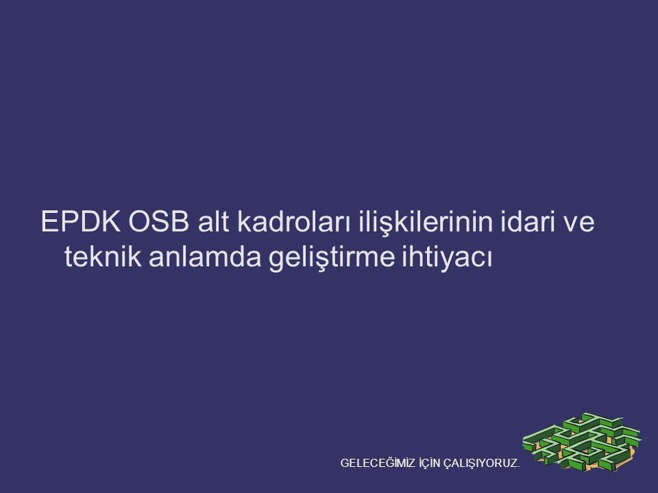 EPDK OSB alt kadroları ilişkilerinin idari ve teknik anlamda geliştirme ihtiyacı GELECEĞİMİZ İÇİN ÇALIŞIYORUZ.