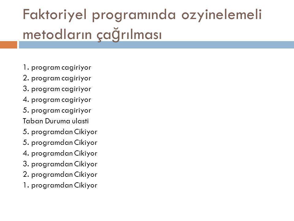 Faktoriyel programında ozyinelemeli metodların ça ğ rılması 1. program cagiriyor 2. program cagiriyor 3. program cagiriyor 4. program cagiriyor 5. pro