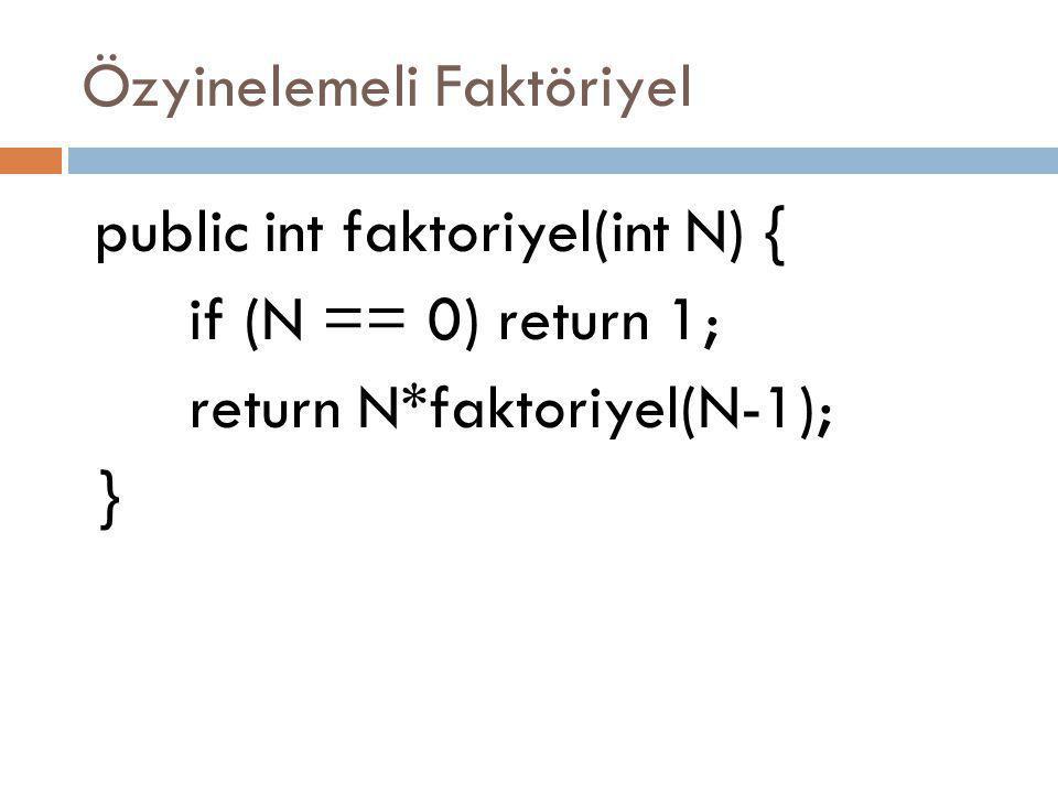 Özyinelemeli Faktöriyel public int faktoriyel(int N) { if (N == 0) return 1; return N*faktoriyel(N-1); }