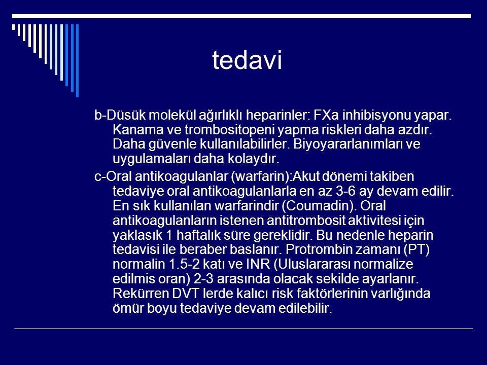 tedavi b-Düsük molekül ağırlıklı heparinler: FXa inhibisyonu yapar.