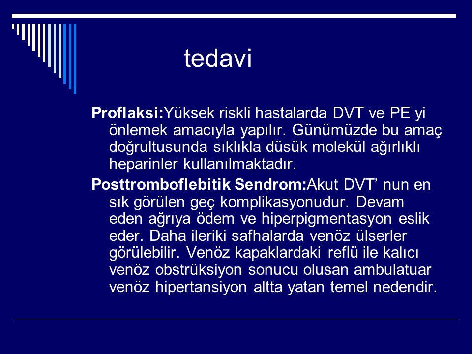 tedavi Proflaksi:Yüksek riskli hastalarda DVT ve PE yi önlemek amacıyla yapılır.