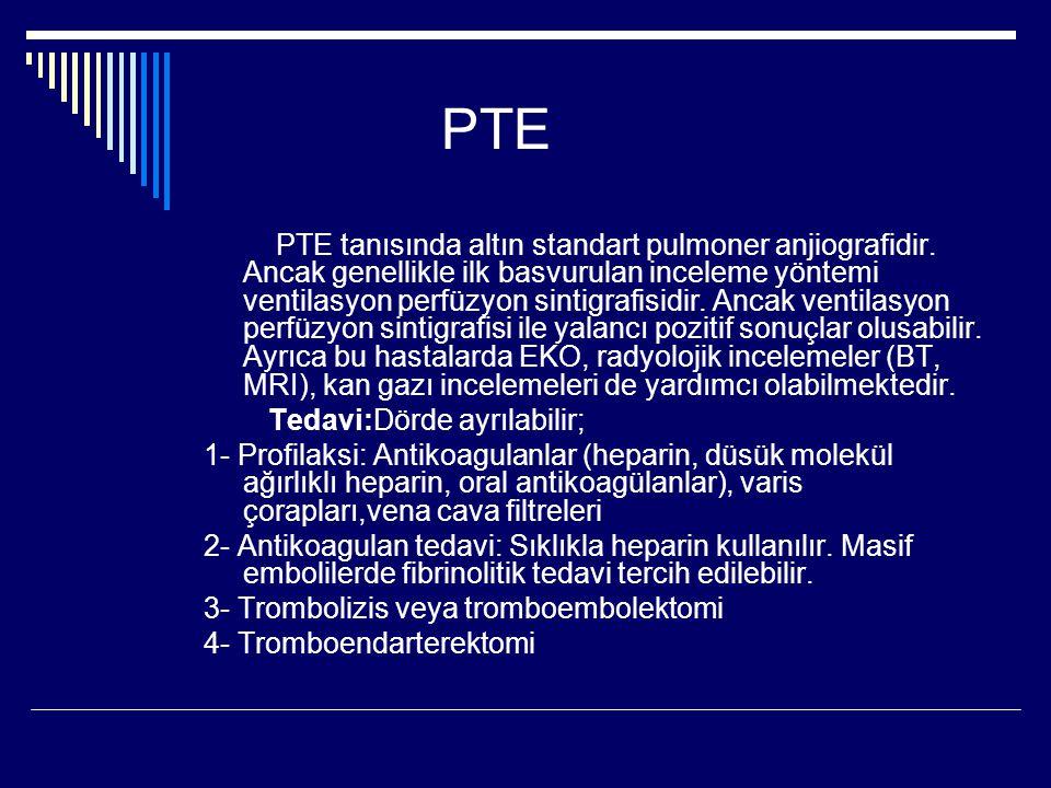 PTE PTE tanısında altın standart pulmoner anjiografidir.