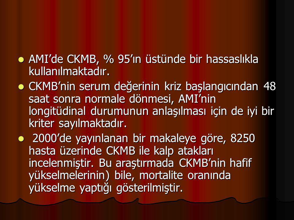 AMI'de CKMB, % 95'ın üstünde bir hassaslıkla kullanılmaktadır. AMI'de CKMB, % 95'ın üstünde bir hassaslıkla kullanılmaktadır. CKMB'nin serum değerinin