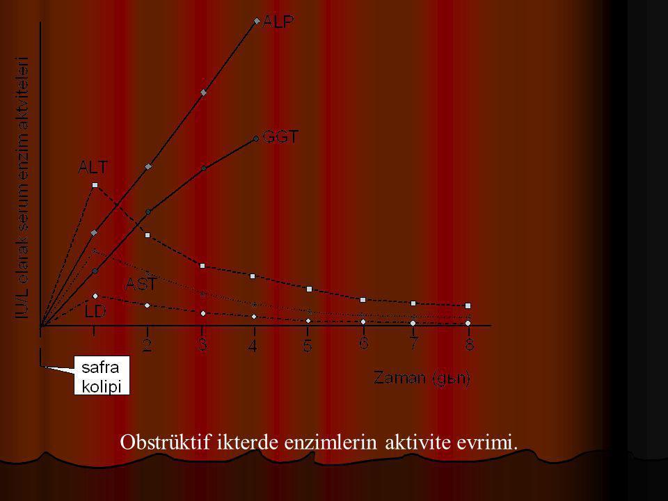Obstrüktif ikterde enzimlerin aktivite evrimi.