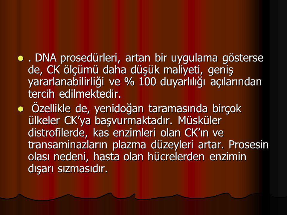. DNA prosedürleri, artan bir uygulama gösterse de, CK ölçümü daha düşük maliyeti, geniş yararlanabilirliği ve % 100 duyarlılığı açılarından tercih ed