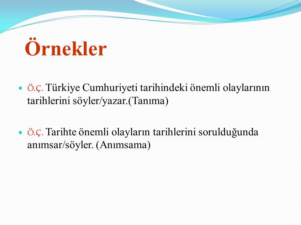 Örnekler Ö.Ç. Türkiye Cumhuriyeti tarihindeki önemli olaylarının tarihlerini söyler/yazar.(Tanıma) Ö.Ç. Tarihte önemli olayların tarihlerini sorulduğu