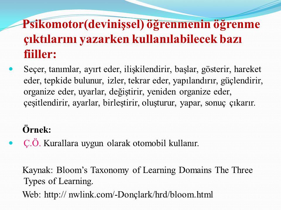 Psikomotor(devinişsel) öğrenmenin öğrenme çıktılarını yazarken kullanılabilecek bazı fiiller: Seçer, tanımlar, ayırt eder, ilişkilendirir, başlar, gös