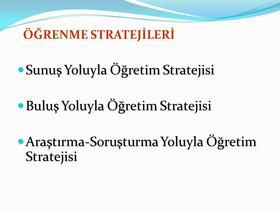 ÖĞRENME STRATEJİLERİ Sunuş Yoluyla Öğretim Stratejisi Sunuş Yoluyla Öğretim Stratejisi Buluş Yoluyla Öğretim Stratejisi Buluş Yoluyla Öğretim Strateji