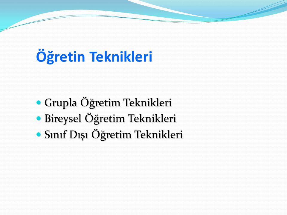 Öğretin Teknikleri Grupla Öğretim Teknikleri Grupla Öğretim Teknikleri Bireysel Öğretim Teknikleri Bireysel Öğretim Teknikleri Sınıf Dışı Öğretim Tekn