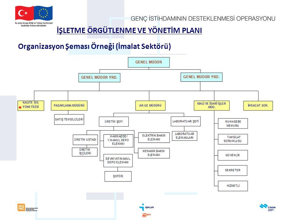İŞLETME ÖRGÜTLENME VE YÖNETİM PLANI Organizasyon Şeması Örneği (İmalat Sektörü)