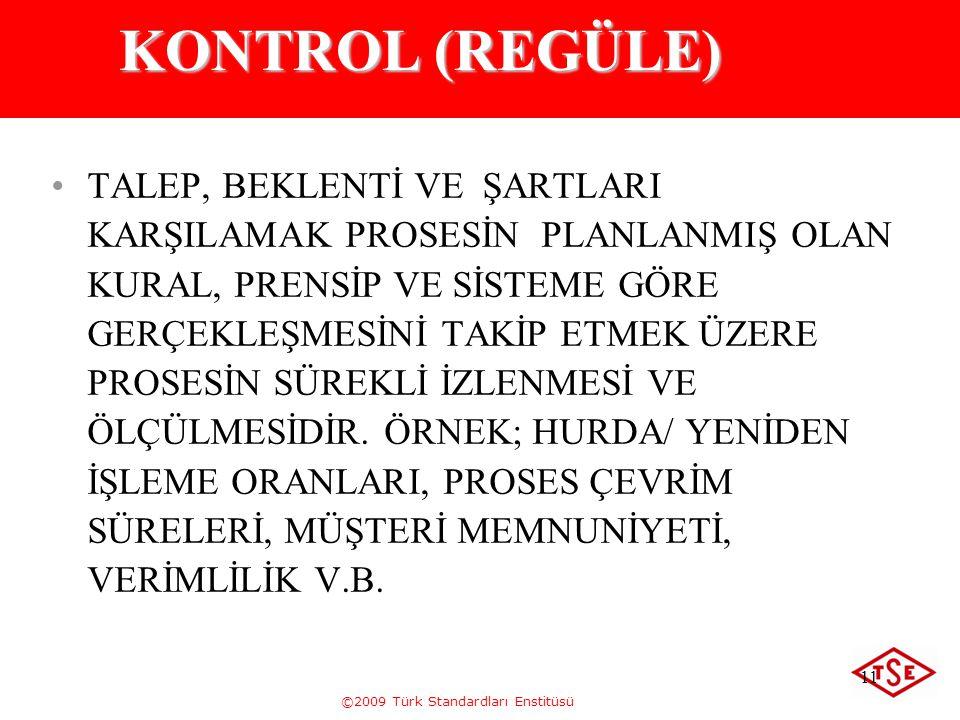 ©2009 Türk Standardları Enstitüsü 11 KONTROL (REGÜLE) TALEP, BEKLENTİ VE ŞARTLARI KARŞILAMAK PROSESİN PLANLANMIŞ OLAN KURAL, PRENSİP VE SİSTEME GÖRE G