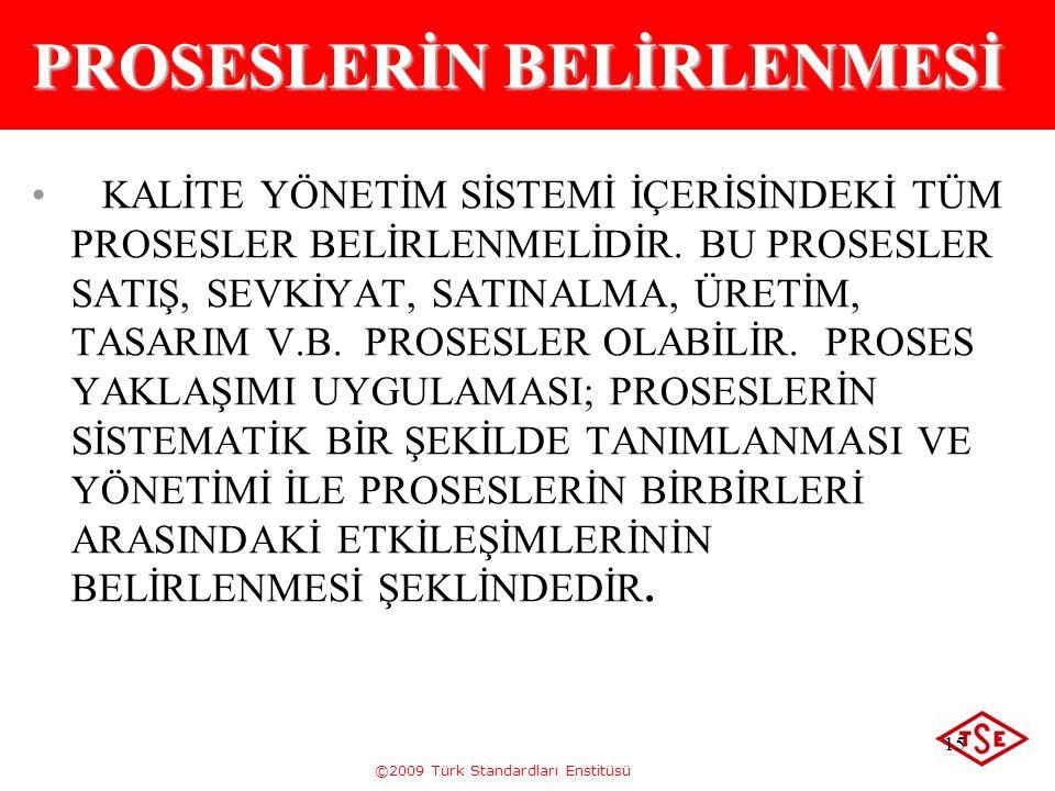 ©2009 Türk Standardları Enstitüsü 15 PROSESLERİN BELİRLENMESİ KALİTE YÖNETİM SİSTEMİ İÇERİSİNDEKİ TÜM PROSESLER BELİRLENMELİDİR. BU PROSESLER SATIŞ, S