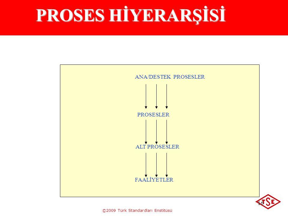 ©2009 Türk Standardları Enstitüsü 16 PROSES HİYERARŞİSİ ANA/DESTEK PROSESLER PROSESLER ALT PROSESLER FAALİYETLER