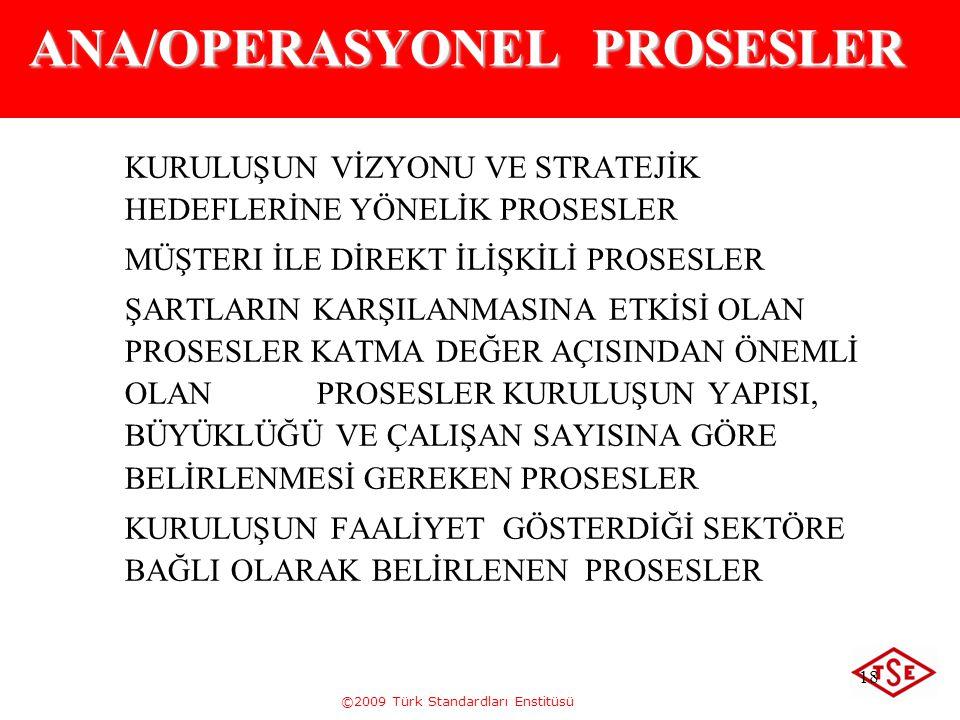 ©2009 Türk Standardları Enstitüsü 18 ANA/OPERASYONEL PROSESLER KURULUŞUN VİZYONU VE STRATEJİK HEDEFLERİNE YÖNELİK PROSESLER MÜŞTERI İLE DİREKT İLİŞKİL