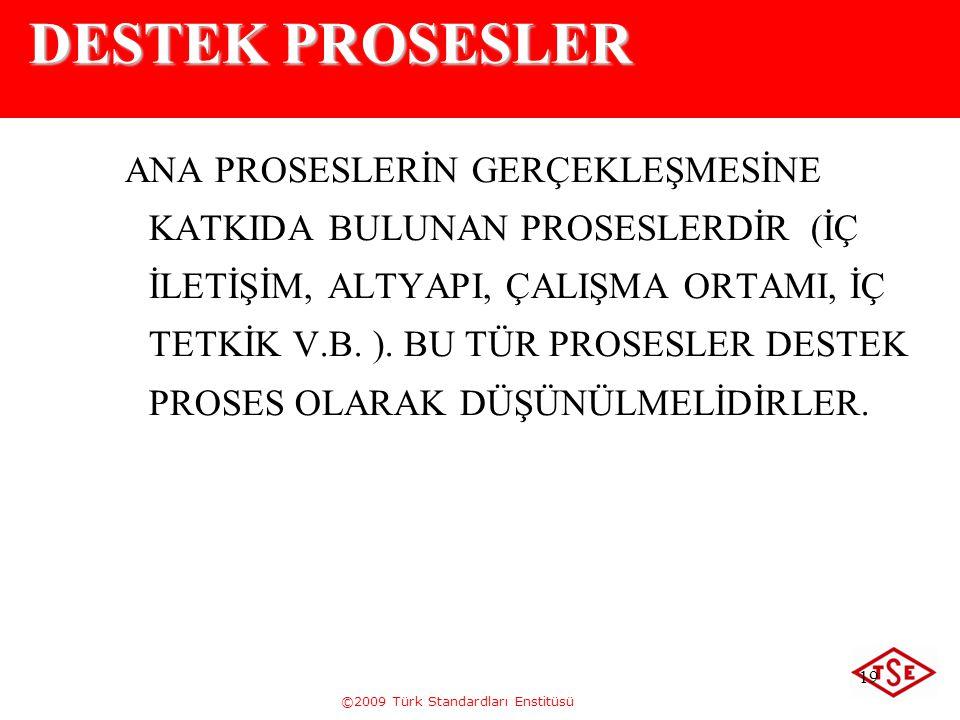 ©2009 Türk Standardları Enstitüsü 19 DESTEK PROSESLER ANA PROSESLERİN GERÇEKLEŞMESİNE KATKIDA BULUNAN PROSESLERDİR (İÇ İLETİŞİM, ALTYAPI, ÇALIŞMA ORTA