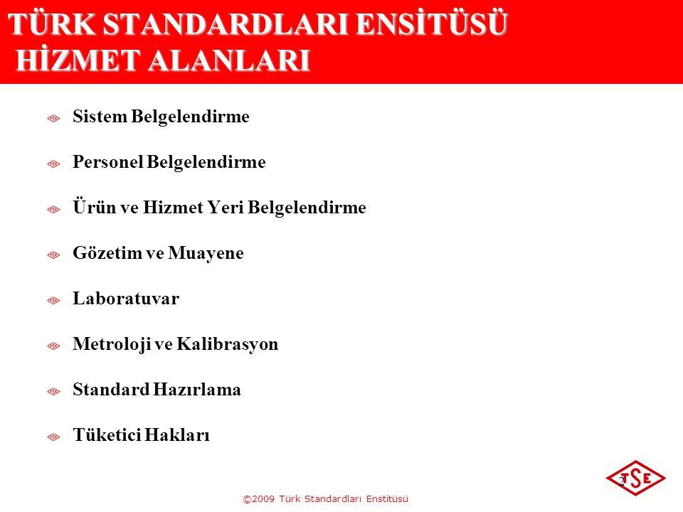 ©2009 Türk Standardları Enstitüsü 2 TÜRK STANDARDLARI ENSİTÜSÜ HİZMET ALANLARI Sistem Belgelendirme Personel Belgelendirme Ürün ve Hizmet Yeri Belgele