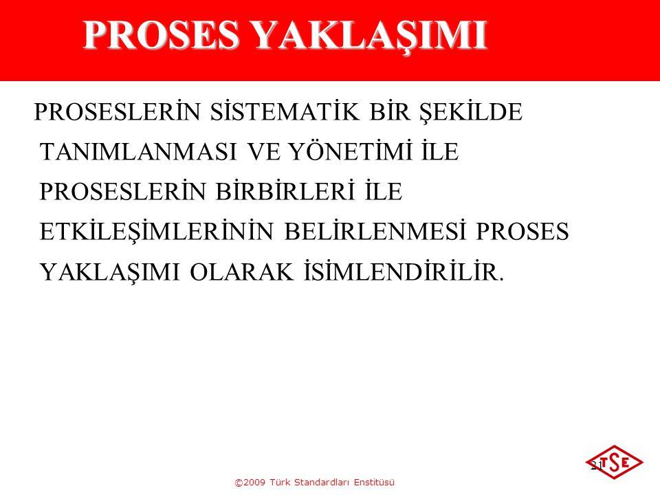 ©2009 Türk Standardları Enstitüsü 21 PROSES YAKLAŞIMI PROSESLERİN SİSTEMATİK BİR ŞEKİLDE TANIMLANMASI VE YÖNETİMİ İLE PROSESLERİN BİRBİRLERİ İLE ETKİL