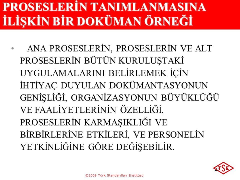 ©2009 Türk Standardları Enstitüsü 25 PROSESLERİN TANIMLANMASINA İLİŞKİN BİR DOKÜMAN ÖRNEĞİ ANA PROSESLERİN, PROSESLERİN VE ALT PROSESLERİN BÜTÜN KURUL