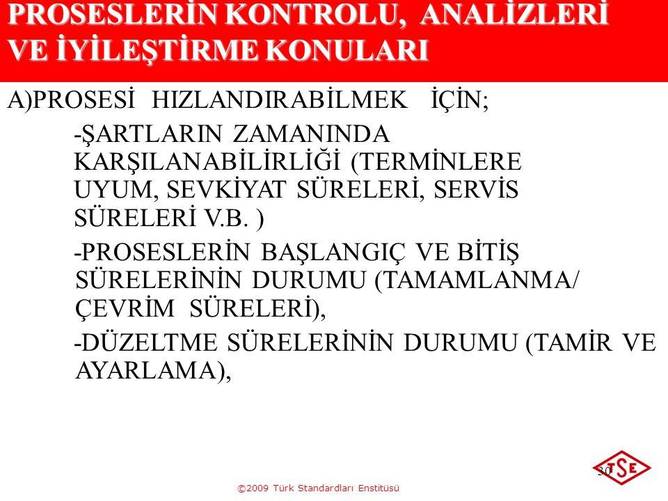 ©2009 Türk Standardları Enstitüsü 30 PROSESLERİN KONTROLU, ANALİZLERİ VE İYİLEŞTİRME KONULARI A)PROSESİ HIZLANDIRABİLMEK İÇİN; -ŞARTLARIN ZAMANINDA KA