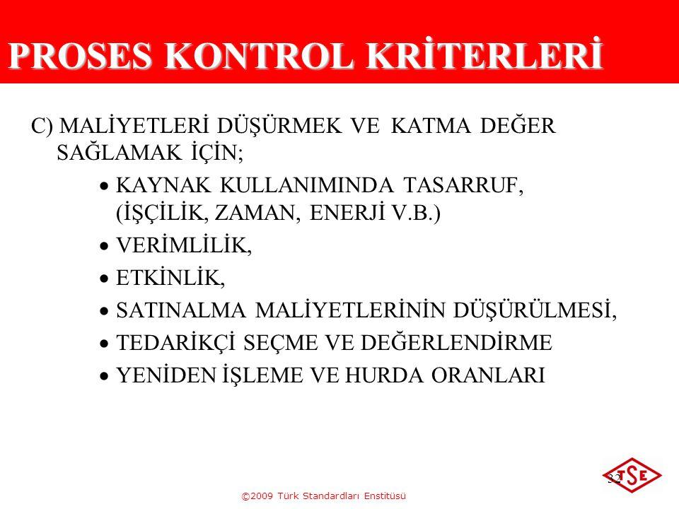 ©2009 Türk Standardları Enstitüsü 32 PROSES KONTROL KRİTERLERİ C) MALİYETLERİ DÜŞÜRMEK VE KATMA DEĞER SAĞLAMAK İÇİN;  KAYNAK KULLANIMINDA TASARRUF, (