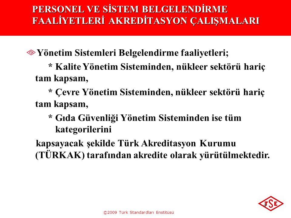 ©2009 Türk Standardları Enstitüsü 4 PERSONEL VE SİSTEM BELGELENDİRME FAALİYETLERİ AKREDİTASYON ÇALIŞMALARI Yönetim Sistemleri Belgelendirme faaliyetle