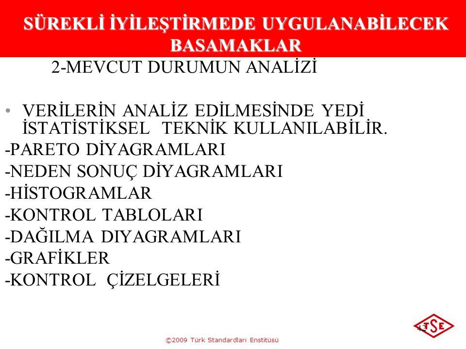 ©2009 Türk Standardları Enstitüsü 42 SÜREKLİ İYİLEŞTİRMEDE UYGULANABİLECEK BASAMAKLAR 2-MEVCUT DURUMUN ANALİZİ VERİLERİN ANALİZ EDİLMESİNDE YEDİ İSTAT