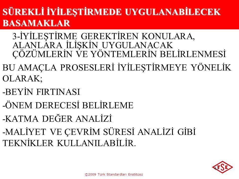 ©2009 Türk Standardları Enstitüsü 43 SÜREKLİ İYİLEŞTİRMEDE UYGULANABİLECEK BASAMAKLAR 3-İYİLEŞTİRME GEREKTİREN KONULARA, ALANLARA İLİŞKİN UYGULANACAK