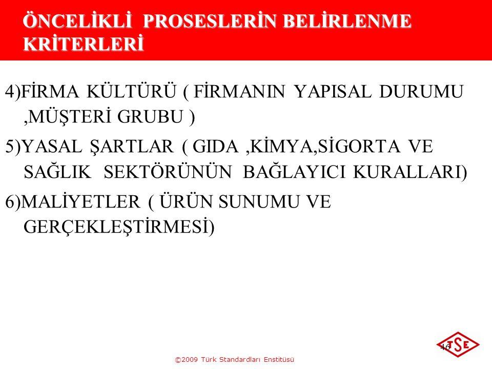 ©2009 Türk Standardları Enstitüsü 46 ÖNCELİKLİ PROSESLERİN BELİRLENME KRİTERLERİ 4)FİRMA KÜLTÜRÜ ( FİRMANIN YAPISAL DURUMU,MÜŞTERİ GRUBU ) 5)YASAL ŞAR