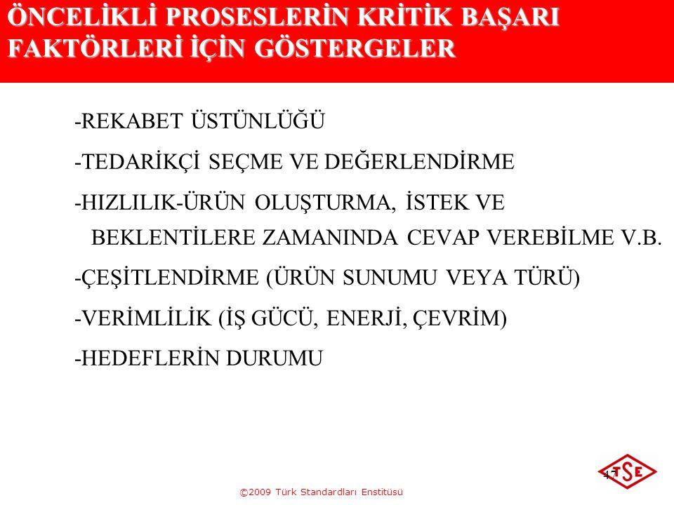 ©2009 Türk Standardları Enstitüsü 47 ÖNCELİKLİ PROSESLERİN KRİTİK BAŞARI FAKTÖRLERİ İÇİN GÖSTERGELER -REKABET ÜSTÜNLÜĞÜ -TEDARİKÇİ SEÇME VE DEĞERLENDİ