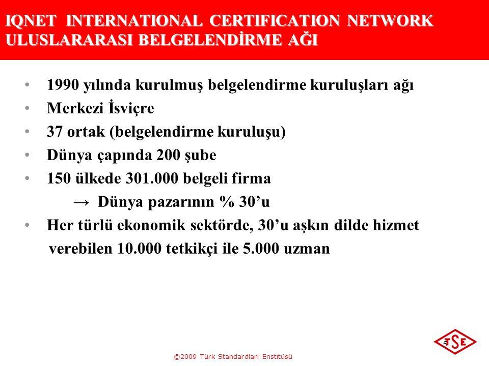 ©2009 Türk Standardları Enstitüsü 5 IQNET INTERNATIONAL CERTIFICATION NETWORK ULUSLARARASI BELGELENDİRME AĞI 1990 yılında kurulmuş belgelendirme kurul