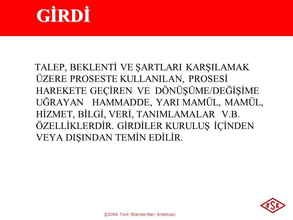 ©2009 Türk Standardları Enstitüsü 8 GİRDİ TALEP, BEKLENTİ VE ŞARTLARI KARŞILAMAK ÜZERE PROSESTE KULLANILAN, PROSESİ HAREKETE GEÇİREN VE DÖNÜŞÜME/DEĞİŞ