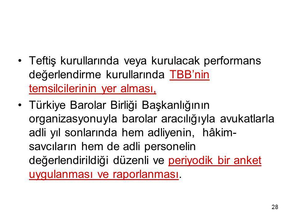 28 Teftiş kurullarında veya kurulacak performans değerlendirme kurullarında TBB'nin temsilcilerinin yer alması, Türkiye Barolar Birliği Başkanlığının