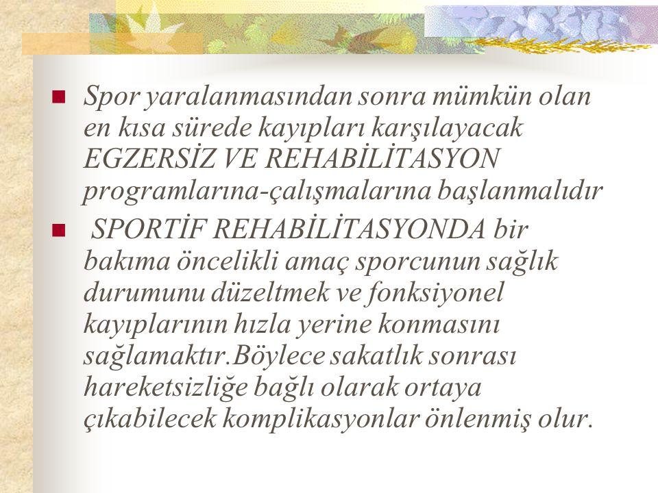 Spor yaralanmasından sonra mümkün olan en kısa sürede kayıpları karşılayacak EGZERSİZ VE REHABİLİTASYON programlarına-çalışmalarına başlanmalıdır SPORTİF REHABİLİTASYONDA bir bakıma öncelikli amaç sporcunun sağlık durumunu düzeltmek ve fonksiyonel kayıplarının hızla yerine konmasını sağlamaktır.Böylece sakatlık sonrası hareketsizliğe bağlı olarak ortaya çıkabilecek komplikasyonlar önlenmiş olur.