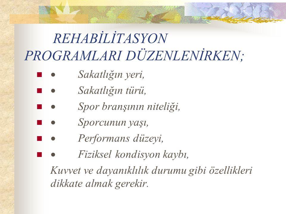 Rehabilitasyon programlarının başlıca hedeflerini şu şekilde sıralayabiliriz 1.