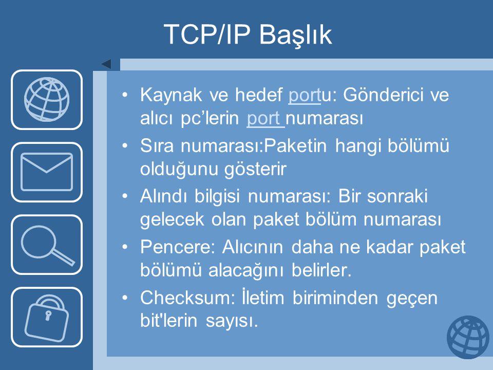 TCP/IP Başlık Kaynak ve hedef portu: Gönderici ve alıcı pc'lerin port numarasıport Sıra numarası:Paketin hangi bölümü olduğunu gösterir Alındı bilgisi